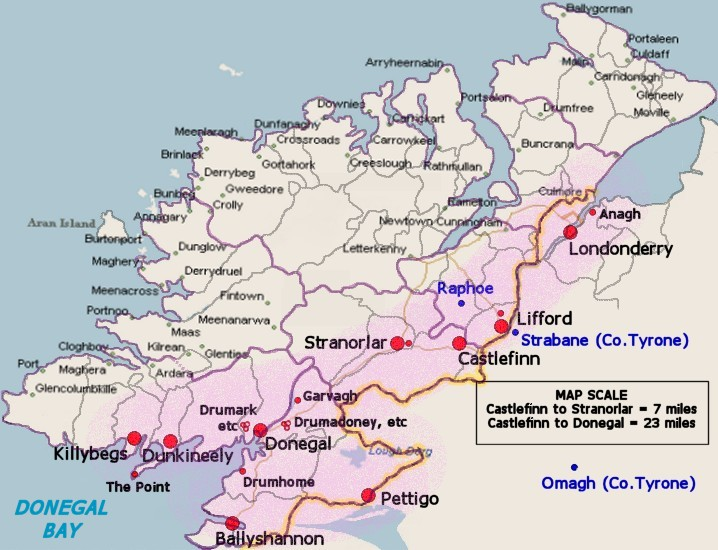 Donegal Map Of Ireland.County Donegal Ireland